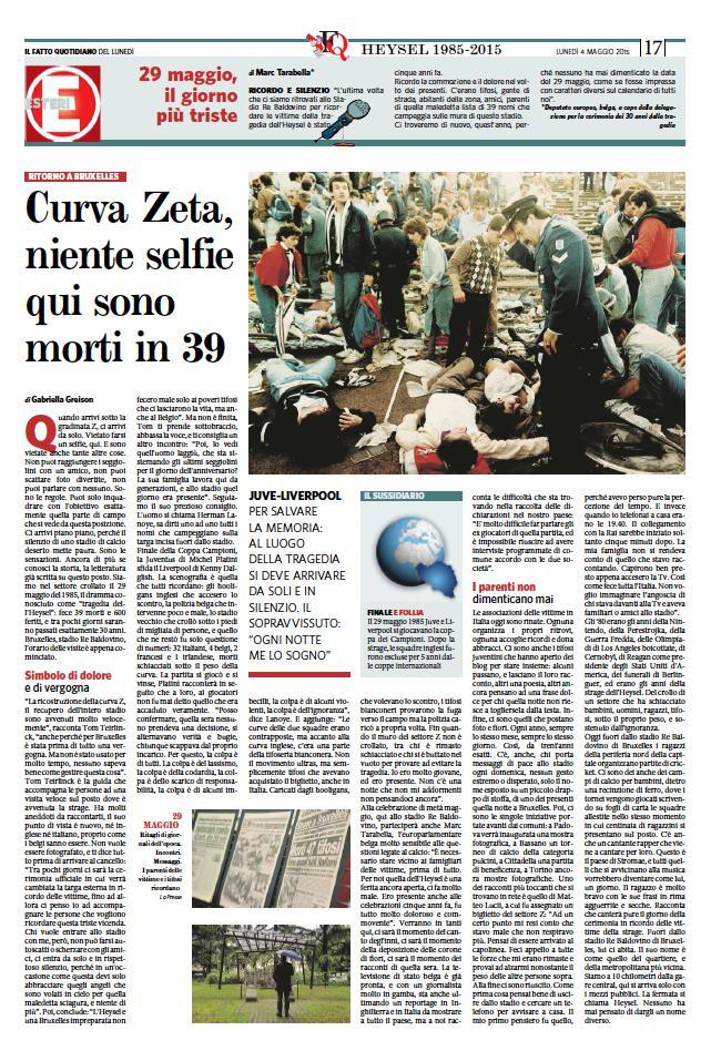 Heysel, ritorno nel settore Z dopo 30 anni dalla tragedia (reportage x il Fatto)