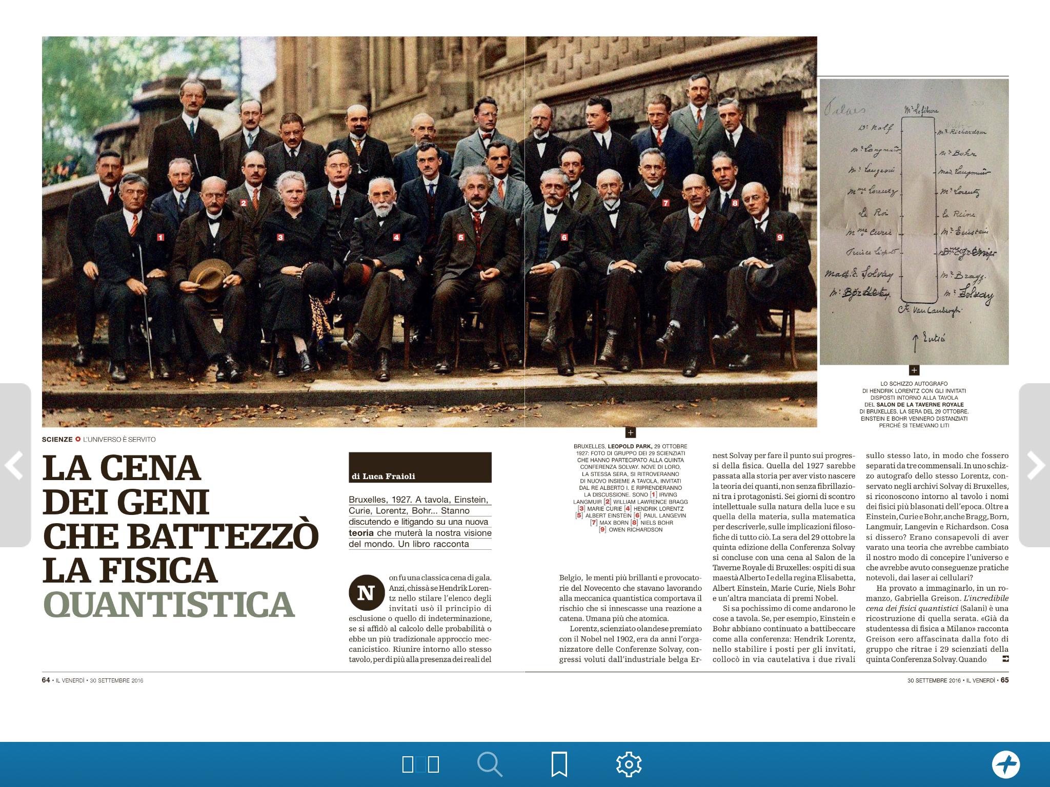 Sul Venerdì di Repubblica, 3 pagine dedicate a L'INCREDIBILE CENA DEI FISICI QUANTISTICI! (rassegna stampa)
