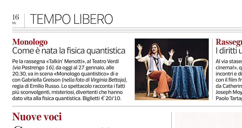 """Oggi su Corriere, Repubblica e Gazzetta! Da stasera a venerdì """"1927 MONOLOGO QUANTISTICO"""" al Teatro Verdi di Milano!"""