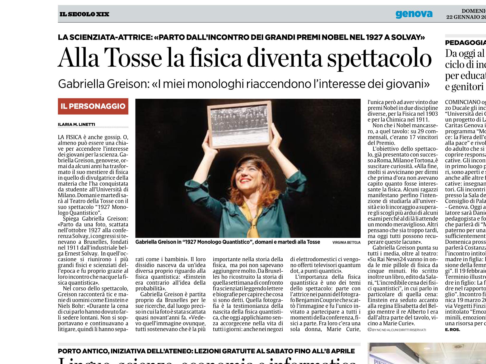 """A Genova, il 23 e 24 gennaio: """"1927 monologo quantistico"""" al Teatro della Tosse! (e oggi sono uscita sul Secolo XIX !!!)"""
