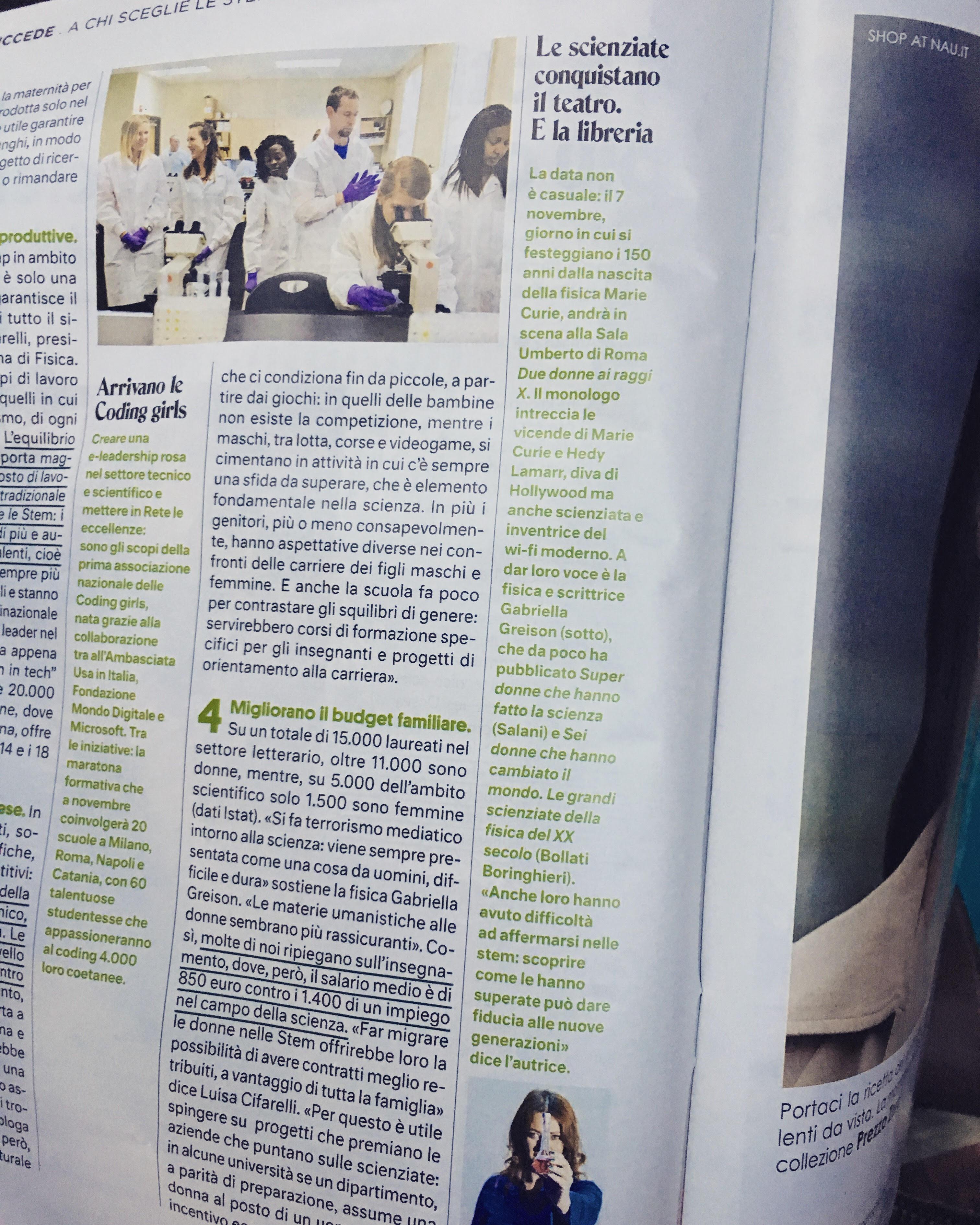 Su 'Donna Moderna' in edicola questa settimana…due pagine dedicate alla fisica e me!
