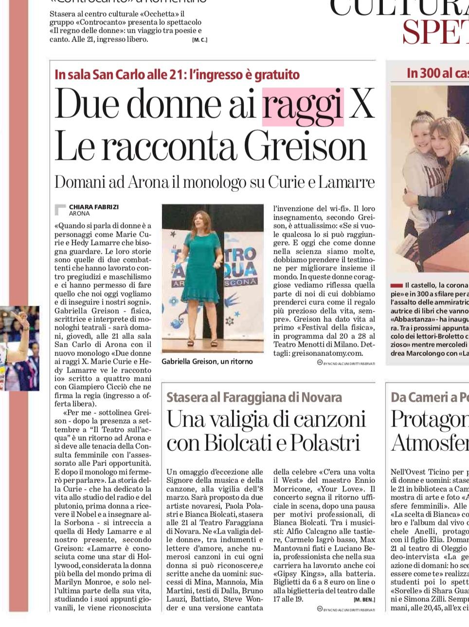 DUE DONNE AI RAGGI X ad Arona per la Festa della Donna! Bellissima serata… Prossime tappe vicino a Sondrio, a Trento, e Lecce!