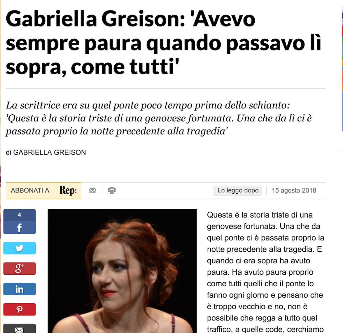 Mi hanno chiesto di scrivere sulla tragedia di Genova e Ponte Morandi crollato, come l'ho vissuta io in Liguria. Ecco il mio racconto, su REPUBBLICA. #Genovatiamo #nonmollare