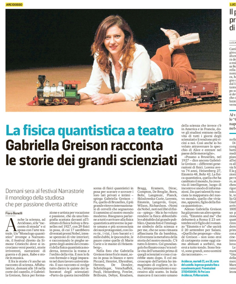 Bella serata in Toscana con MONOLOGO QUANTISTICO! E questa è la pagina con l'intervista sul Tirreno…