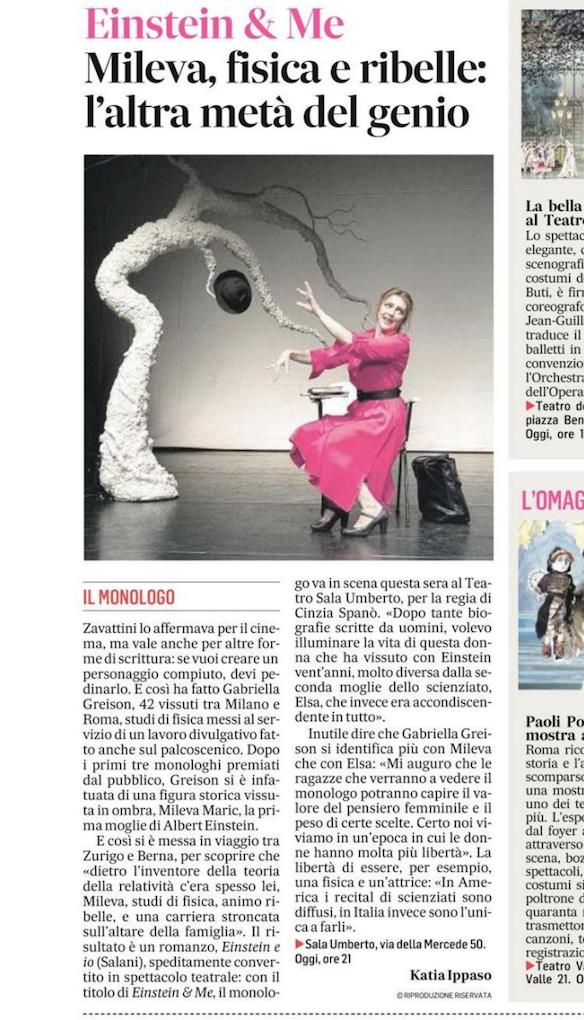 Continua la rassegna stampa di EINSTEIN & ME… su Messaggero e Corriere della Sera!
