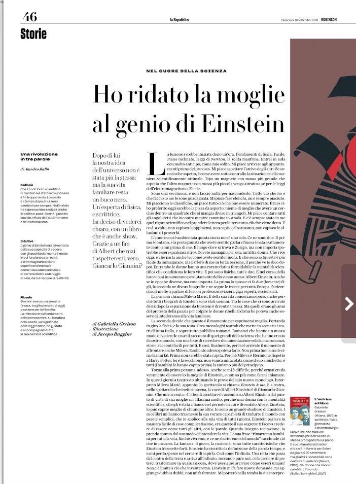 """""""Ho ridato la moglie al genio di Einstein"""" …due pagine, sull'allegato culturale di Repubblica, dedicate EINSTEIN & ME e EINSTEIN E IO (anticipazione!)"""