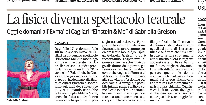 Sul quotidiano La Nuova Sardegna…a Cagliari due repliche di EINSTEIN & ME all'Exma, ecco il racconto…