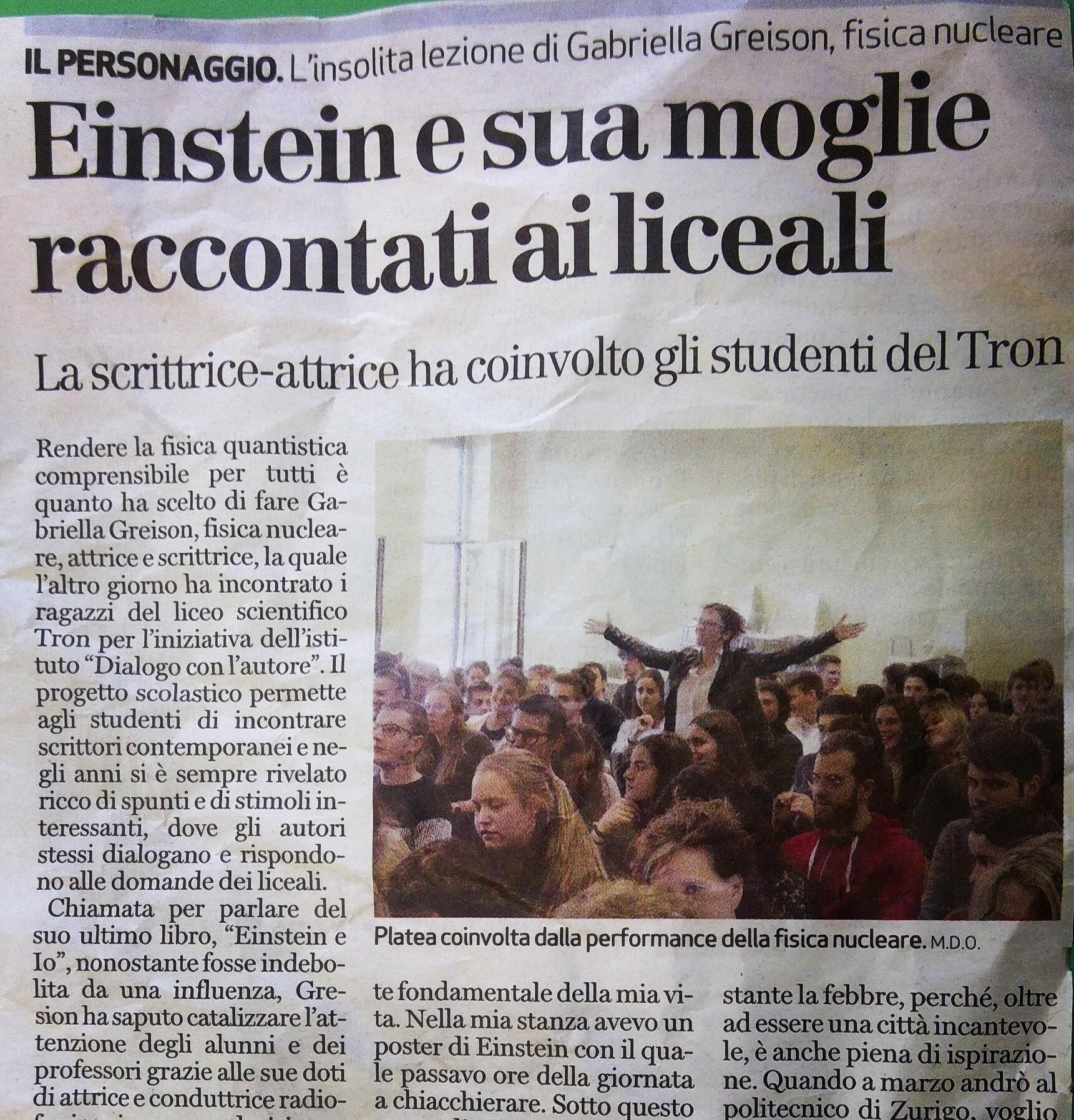 La mia lezione di fisica quantistica ai ragazzi del liceo di Schio…ecco l'articolo uscito!