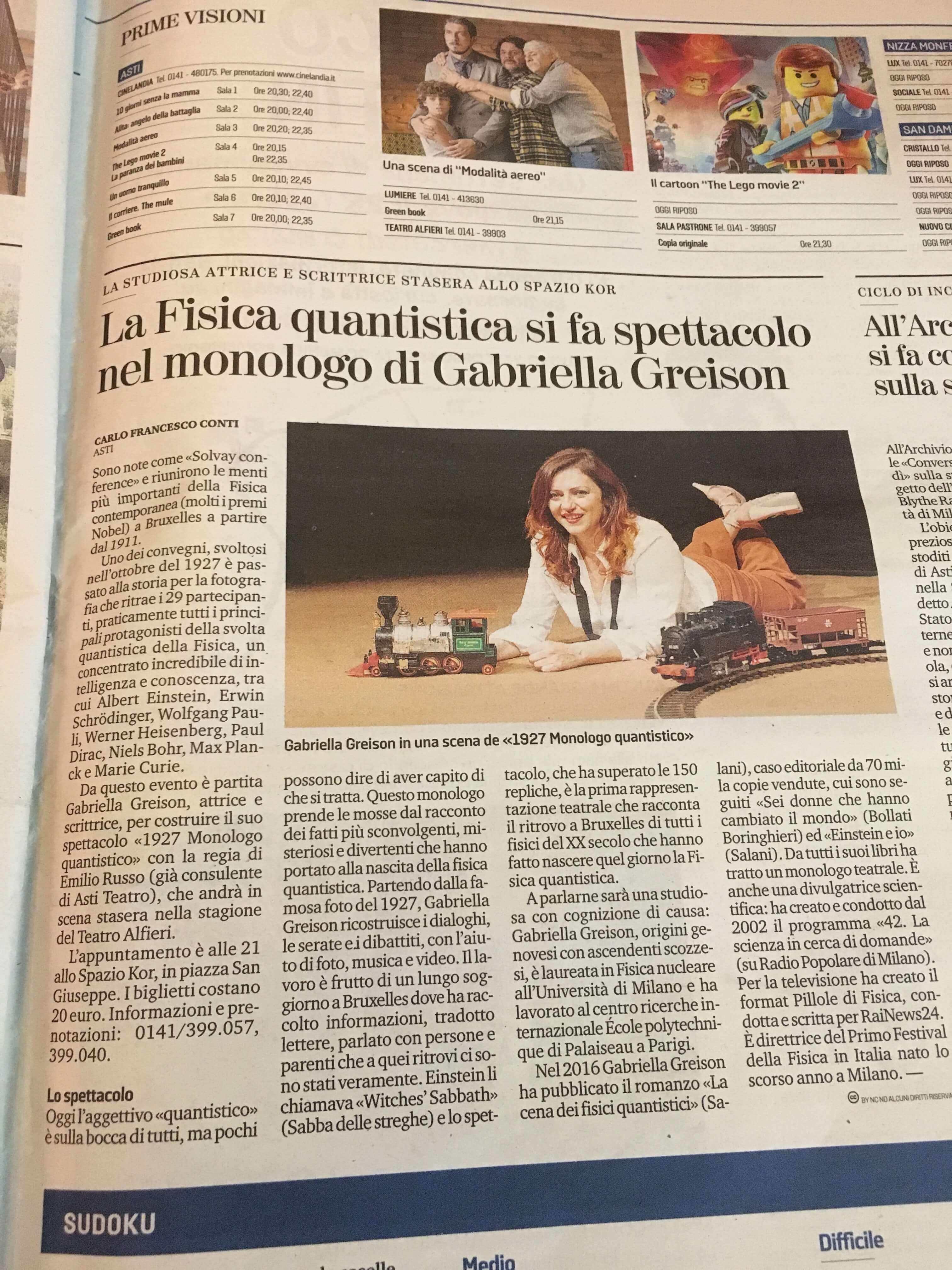 Asti, Teatro Alfieri, bella serata con MONOLOGO QUANTISTICO…lo dice anche La Stampa!