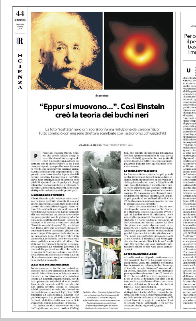 Oggi su Repubblica c'è il mio racconto qui da Princeton, in un luogo speciale, tanto caro ad Einstein… una pagina in cui racconto come ha pensato ai buchi neri!