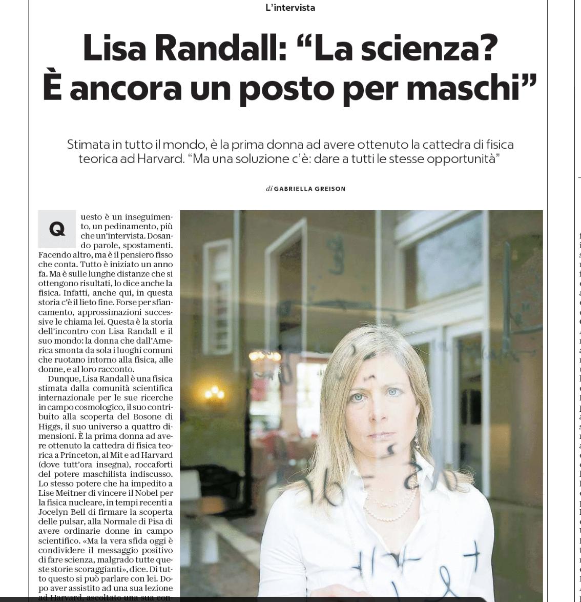 Su Repubblica in edicola racconto la fisica Lisa Randall, il suo mondo, e l'intervista che le ho fatto…