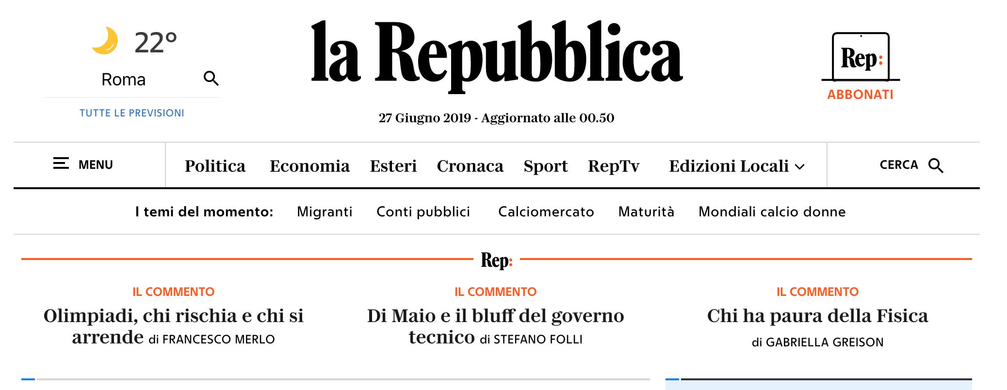 In home page di Repubblica il mio commento sulla seconda prova della maturità, matematica e fisica…