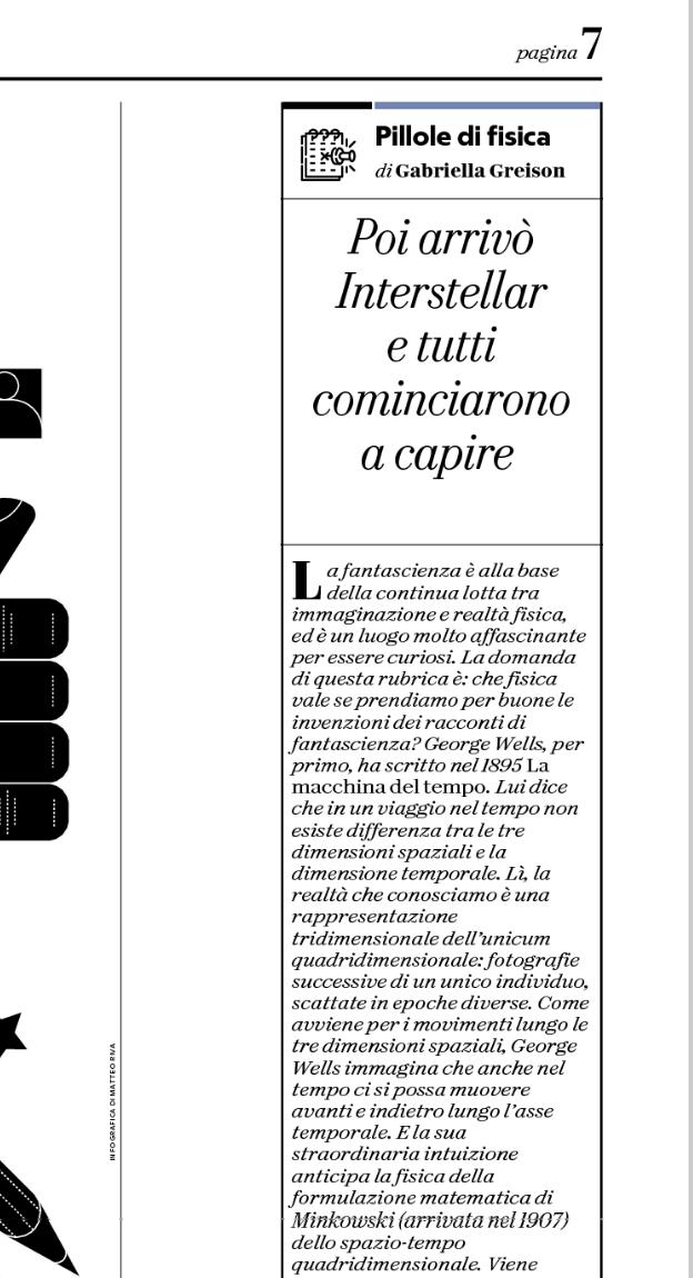 Oggi su Repubblica nuova puntata delle mie PILLOLE DI FISICA…
