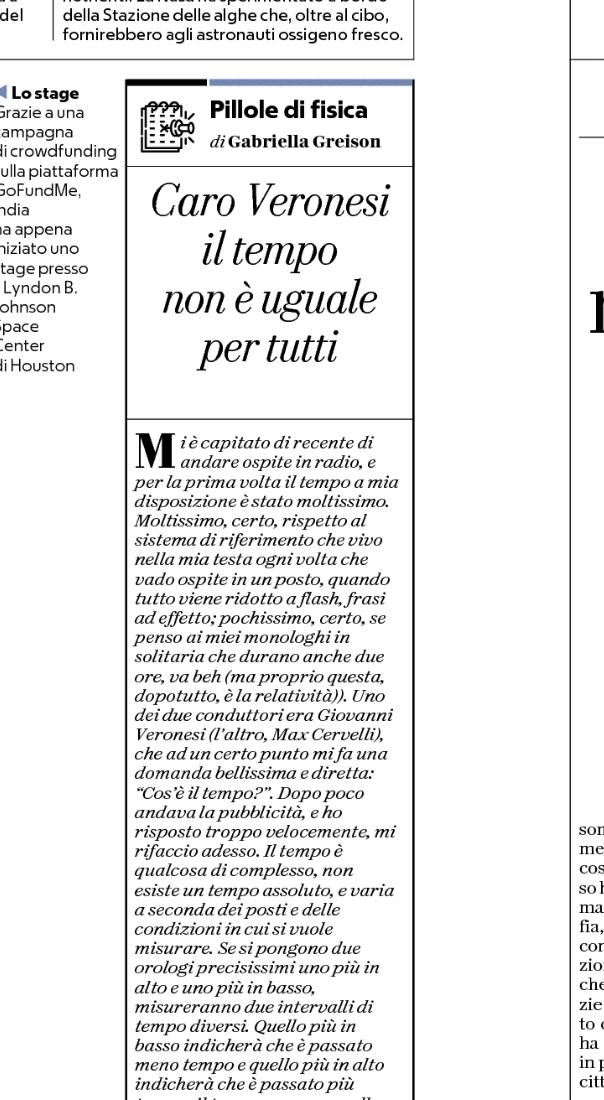 Oggi su Repubblica nuova puntata delle mie PILLOLE DI FISICA…rispondo a una domanda di Giovanni Veronesi!
