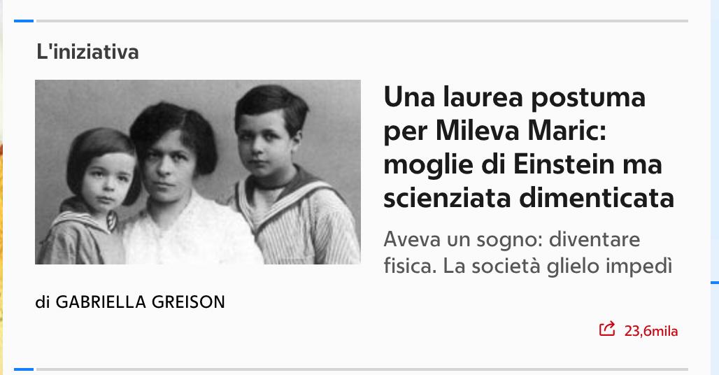 La mia proposta di attribuire una laurea postuma a Mileva Maric. Racconto tutta la storia su Repubblica…