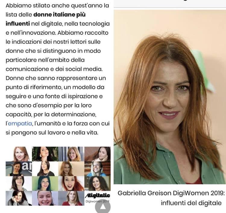 Nella classifica delle 15 donne che influenzano nel digitale, e in quella delle 100 che stanno cambiando l'Italia. Tutto molto bello.