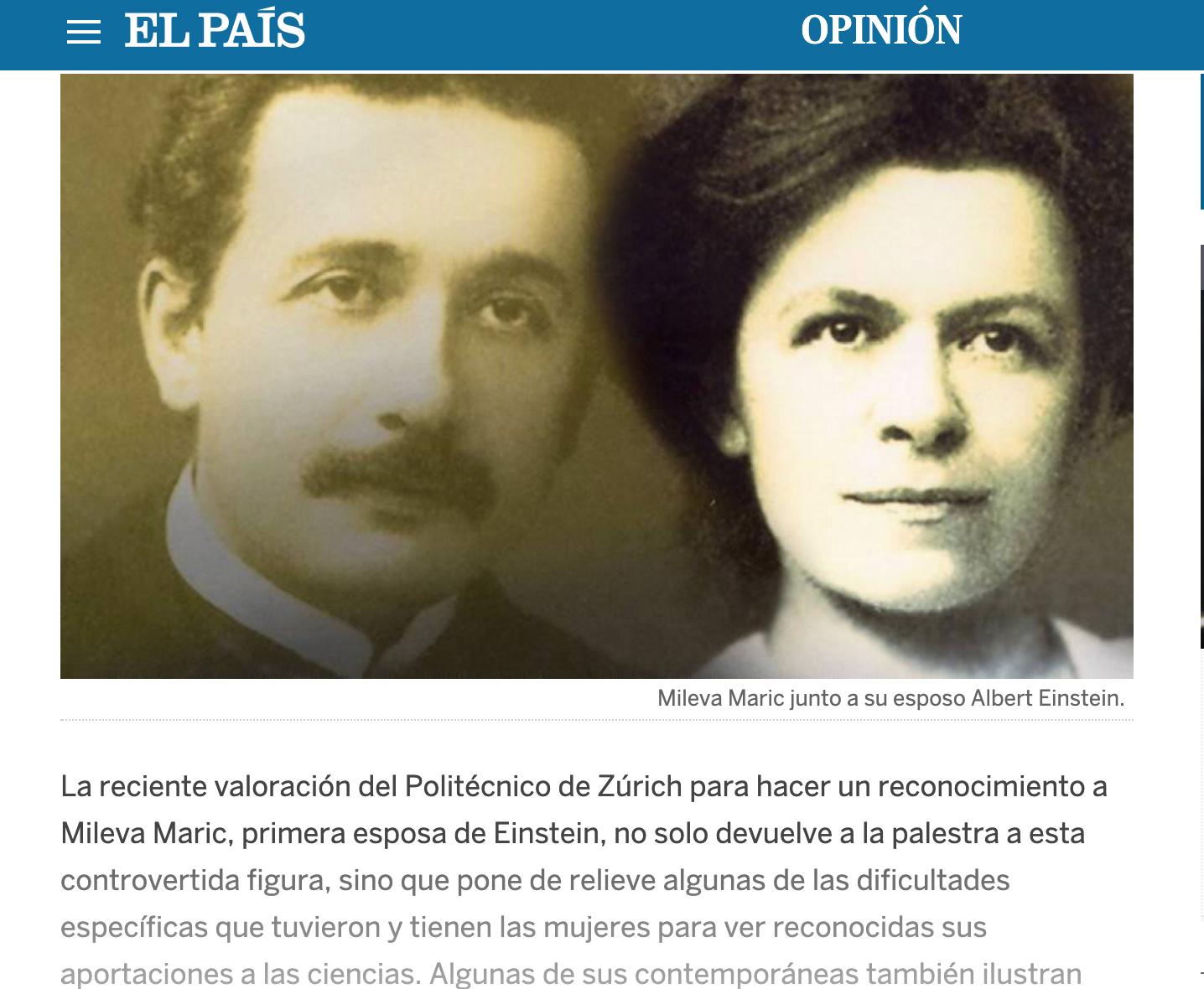 Anche su El Pais la mia proposta di attribuire una laurea postuma a Mileva Maric…