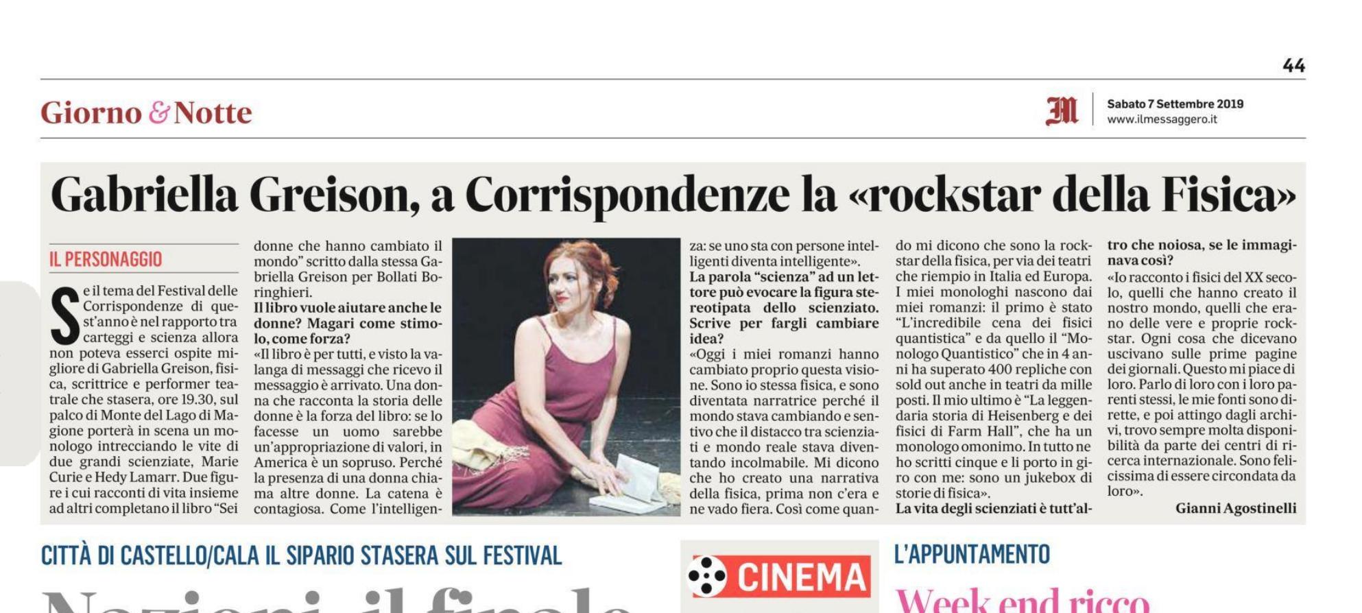 Sul Messaggero! Ci vediamo sabato vicino a Perugia con il mio monologo DUE DONNE AI RAGGI X – MARIE CURIE E HEDY LAMARR, VE LE RACCONTO IO… e poi altre novità!