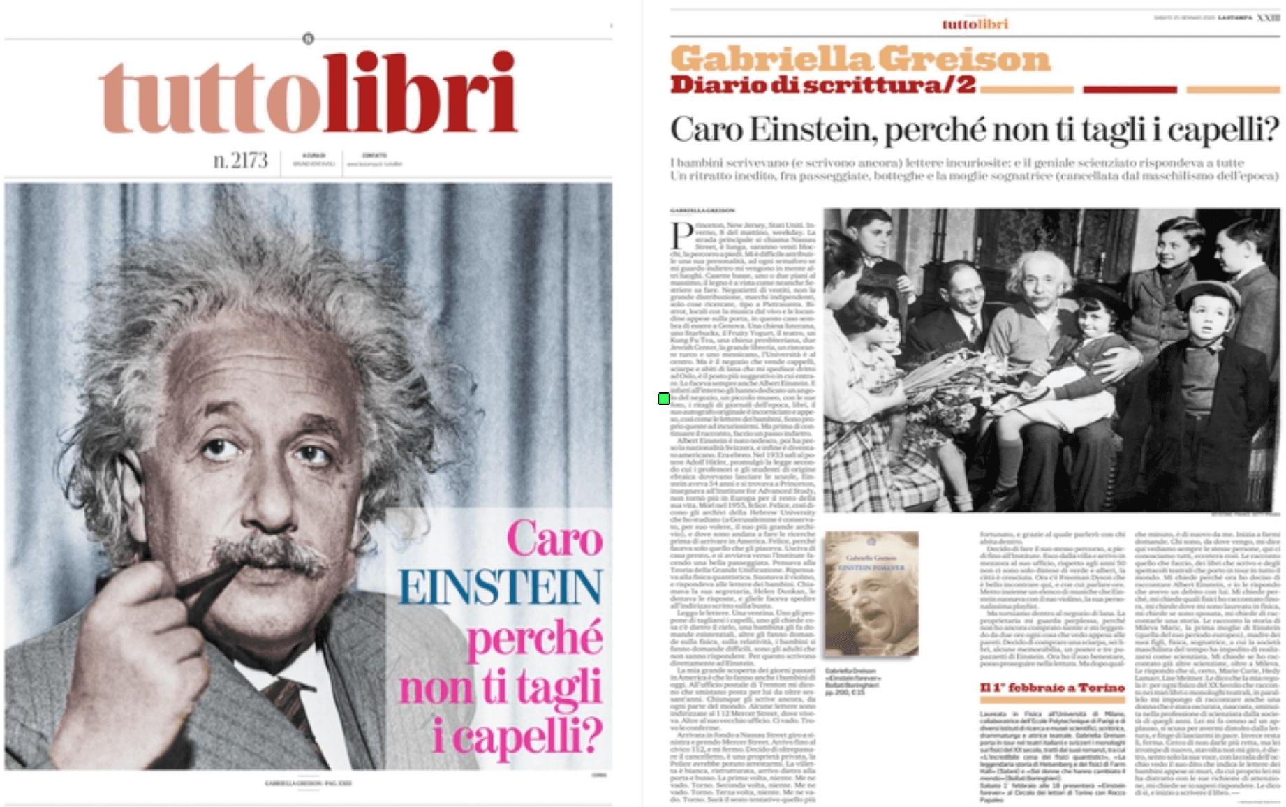 Intera copertina di TuttoLibri della Stampa e una pagina con il mio 'diario di scrittura' su come è nato EINSTEIN FOREVER…grazie!