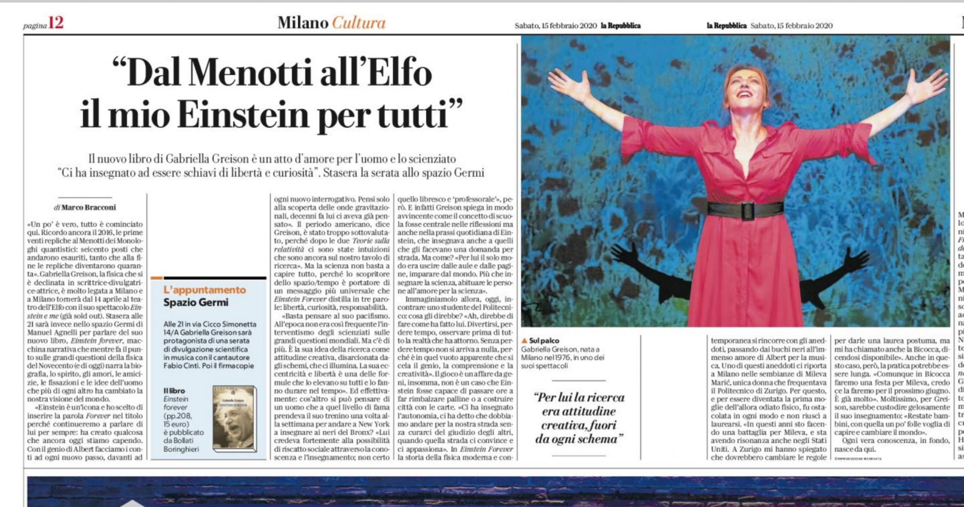 """Mi hanno intervistato raccontando le tracce che sto lasciando per Milano: """"Dal Menotti all'Elfo il mio Einstein è per tutti"""", due pagine su Repubblica!"""