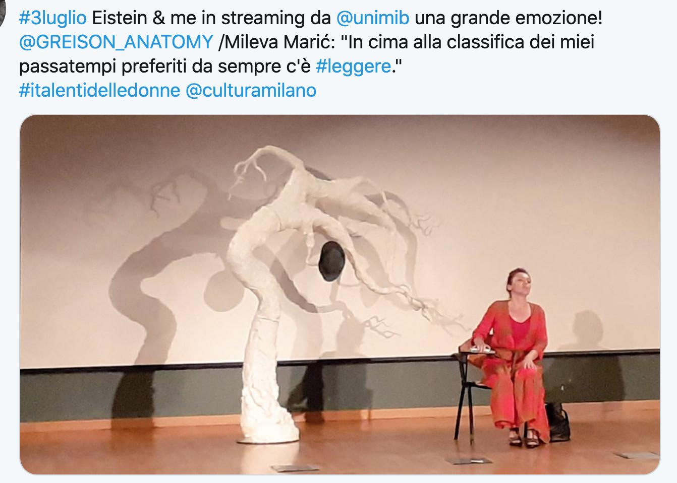 Aver portato la storia di Mileva Maric all'Università Bicocca è stato bellissimo, ecco il racconto della serata con i vostri post…