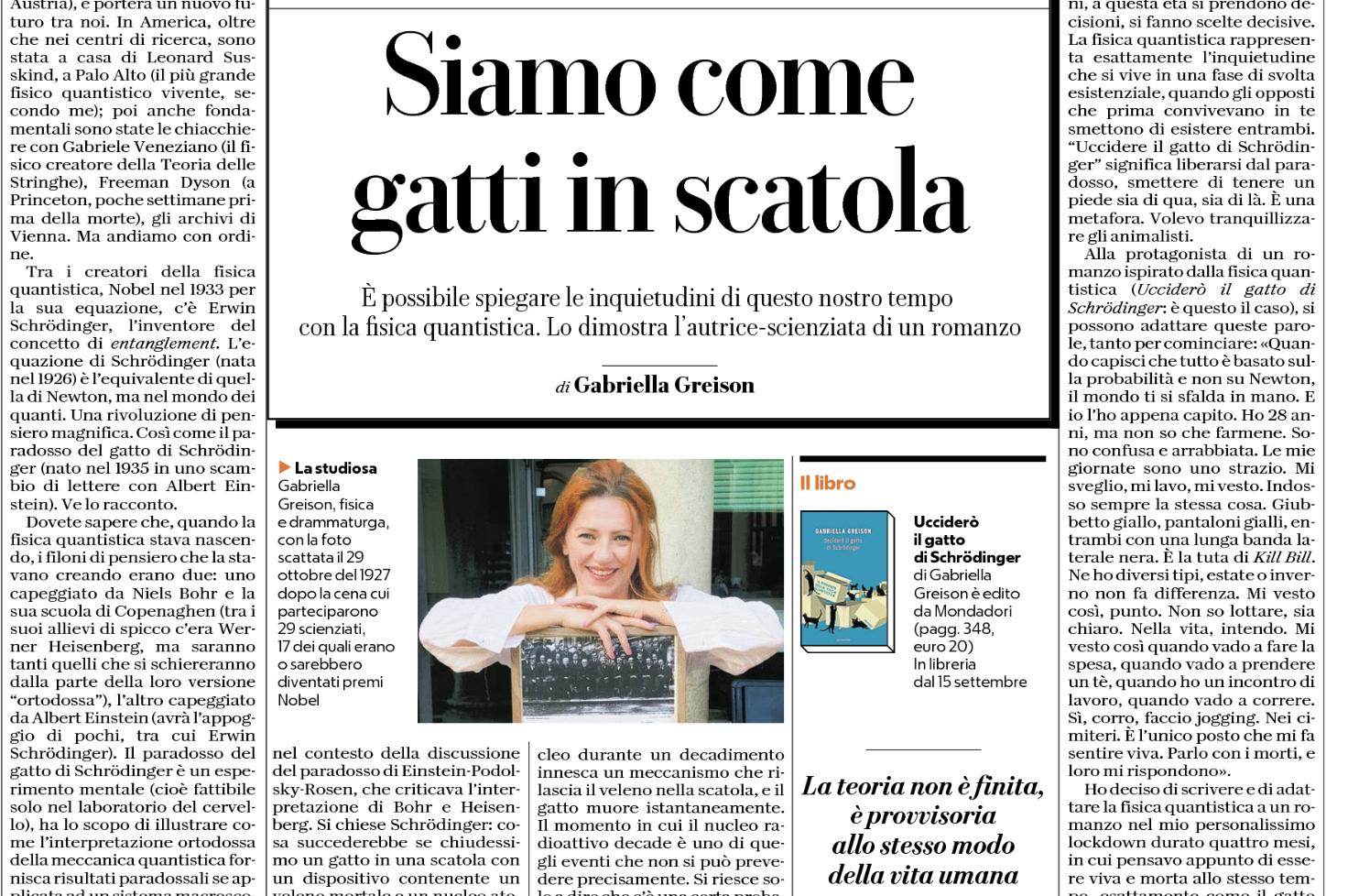 Oggi anteprima del mio nuovo romanzo, prima pagina della Cultura di Repubblica!