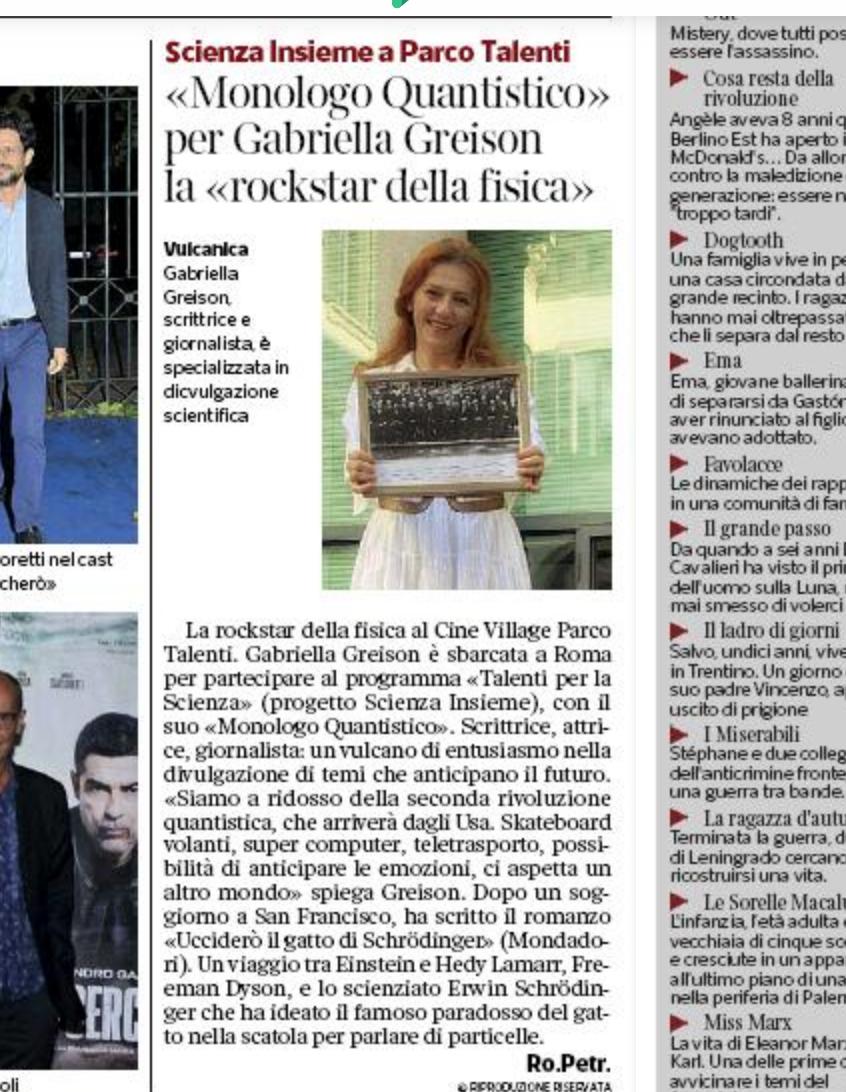 Sul Corriere della Sera di Roma il racconto della serata con il MONOLOGO QUANTISTICO rivisitato in chiave GATTO DI SCHROEDINGER…