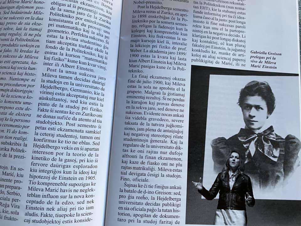 Hanno pubblicato un nuovo resoconto sui miei lavori su Mileva Maric…stavolta è una rivista Svizzera a parlarne