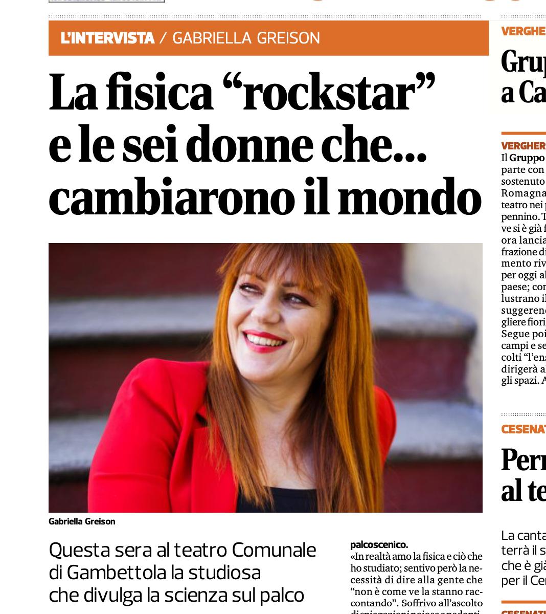 """Torno a girare con le mie """"Sei donne che hanno cambiato il mondo""""…lo dice anche il Corriere della Romagna"""
