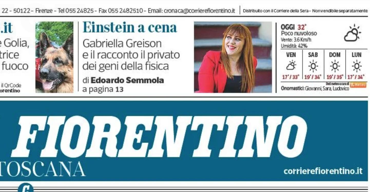 Torno in scena con MONOLOGO QUANTISTICO il 26 Agosto a Firenze…lo dice anche il Corriere a tutta pagina!