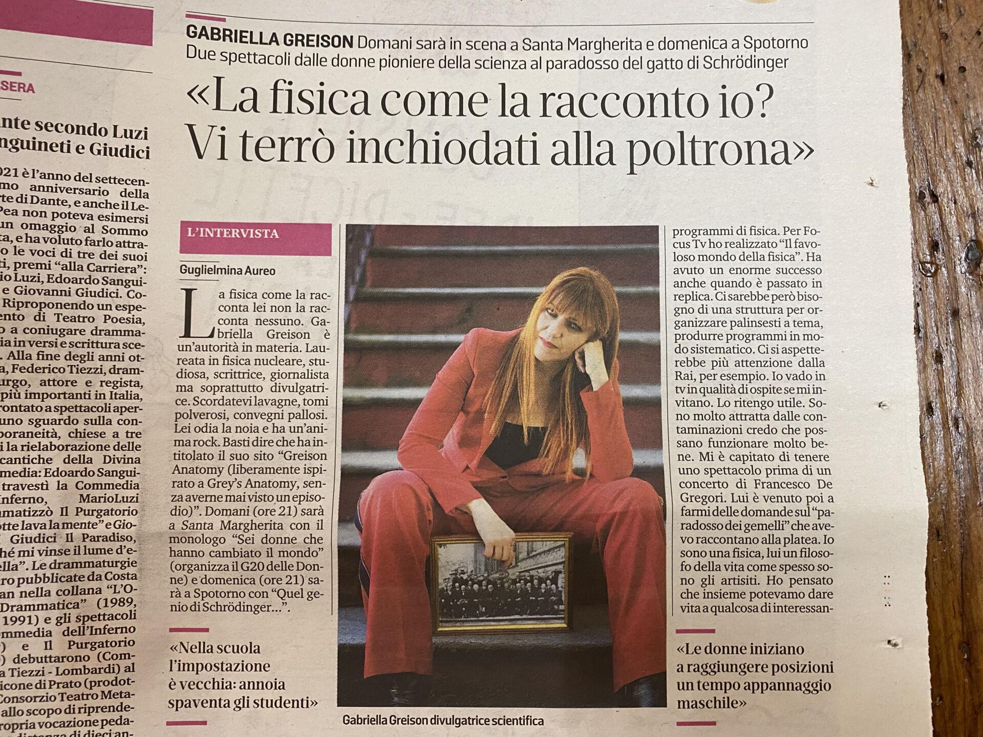 Due serate in Liguria, sabato e domenica, con i miei monologhi…lo dice anche il Secolo XIX in una pagina bellissima!