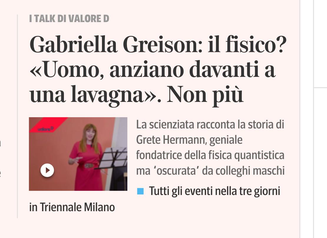 MECCANICA QUANTISTICA: DA GRETE HERMANN A ME (durata 10 minuti)…ecco il link per guardare il monologo inedito su Corriere.it!