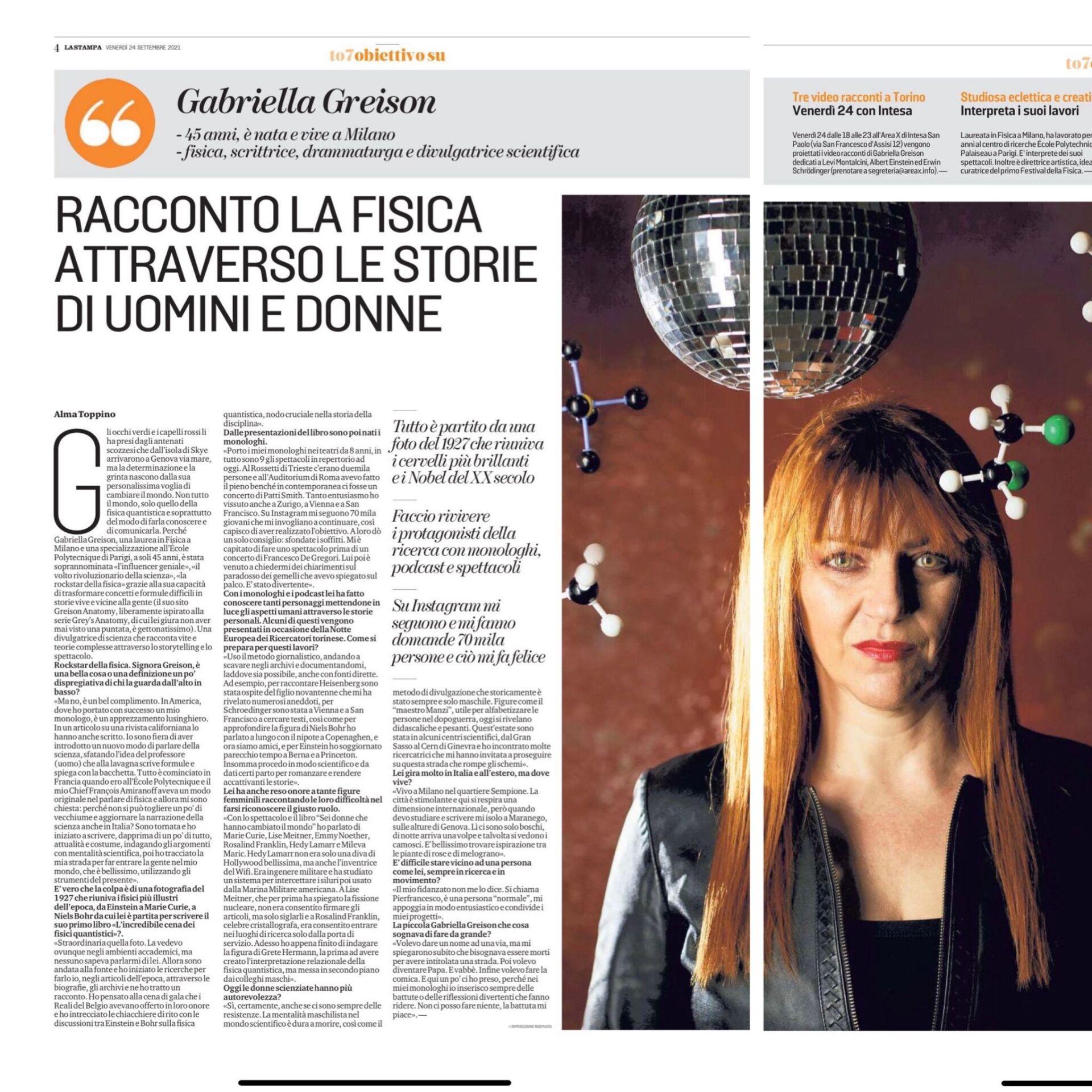 Due pagine di intervista bellissime su LA STAMPA di oggi in edicola…wow!