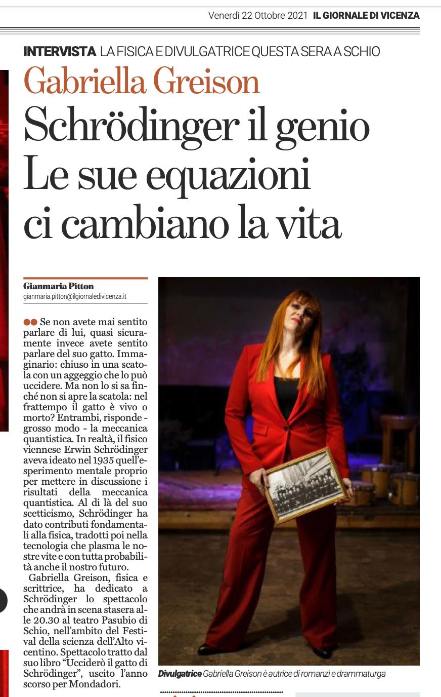 Due nuove interviste, sul Fatto e sul Giornale di Vicenza…e io torno a parlare di Schroedinger!