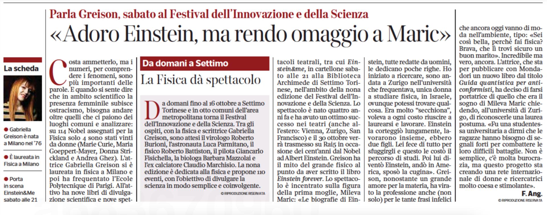 Su Corriere e la Stampa per il mio progetto su Mileva Maric e le prossime rappresentazioni di EINSTEIN & ME…